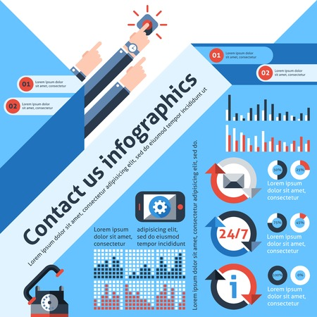 Contact us infographics set with telephone customer service communication elements and charts vector illustration Illustration