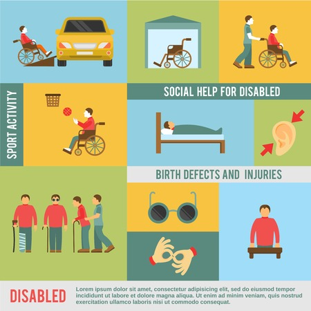 defects: Disabled icons set with social help and sport activities symbols isolated vector illustration Illustration