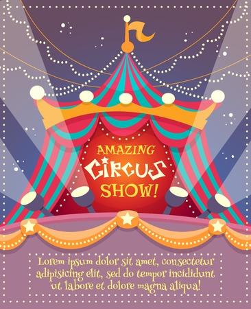 fondo de circo: Cartel de la vendimia del circo con una carpa de circo y sorprendente espectáculo de texto ilustración vectorial