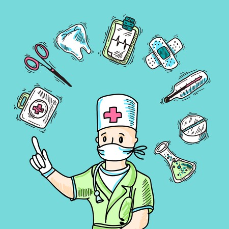 Medical design concept with doctor avatar and healthcare symbols sketch vector illustration Vector