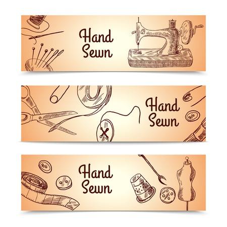 Naaien schets horizontale banner set met kleermakerij en kleding elementen geïsoleerd vector illustratie Stockfoto - 36520044
