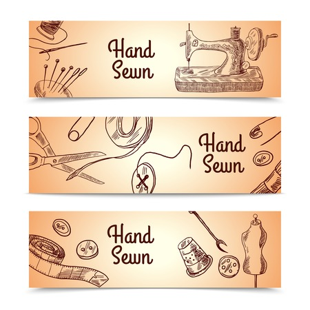 Sewing sketch horizontal banner set with dressmaking and clothes elements isolated vector illustration Ilustracja