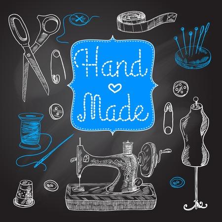 Naaien en kleermakerswerk krijtbord set met machine schaar knop vector illustratie