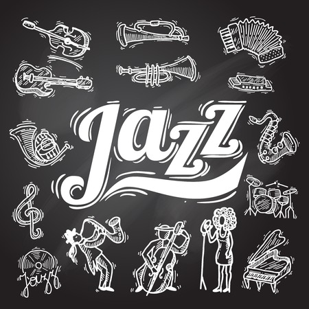wind: Jazz music decorative icons chalkboard set with instruments musicians and vinyl isolated vector illustration Illustration