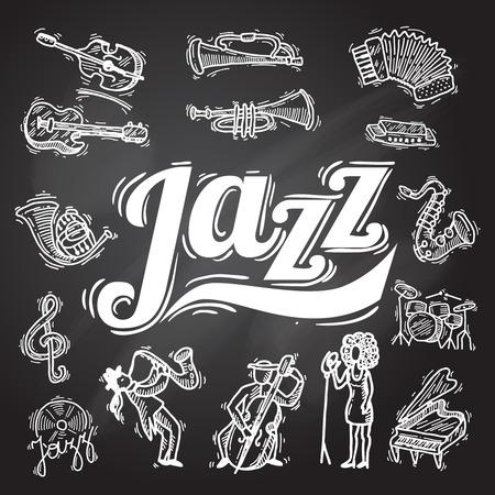 Jazzmuziek decoratieve iconen krijtbord set met instrumenten muzikanten en vinyl geïsoleerde vector illustratie