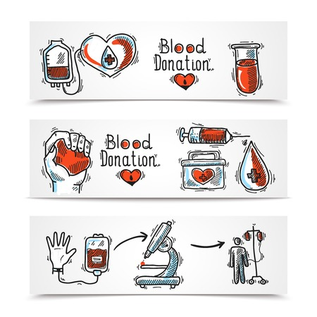 blood line: Donor organ and blood donation sketch horizontal banners set isolated vector illustration Illustration