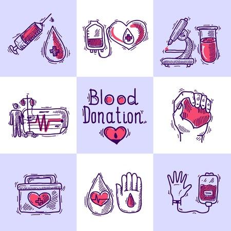 donacion de organos: Donante de concepto de dise�o conjunto con la sangre y la donaci�n de �rganos iconos de dibujo aislado ilustraci�n vectorial