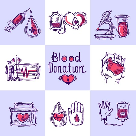 clean blood: Donor design concept set with blood and organ donation sketch icons isolated vector illustration