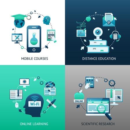aprendizaje: Concepto en línea de diseño de la educación conjunto con cursos de aprendizaje a distancia móviles iconos de investigación científica aislado ilustración vectorial