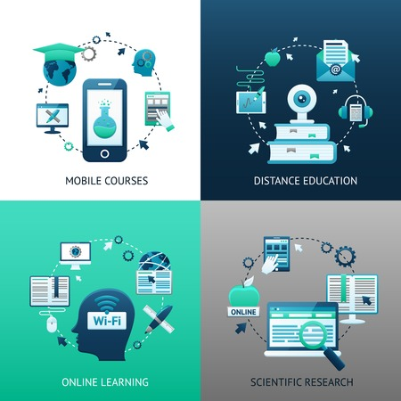 libraries: Online education design concept set with mobile courses distance learning scientific research icons isolated vector illustration