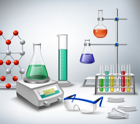 Science chemical and medical research equipment in lab realistic background vector illustration