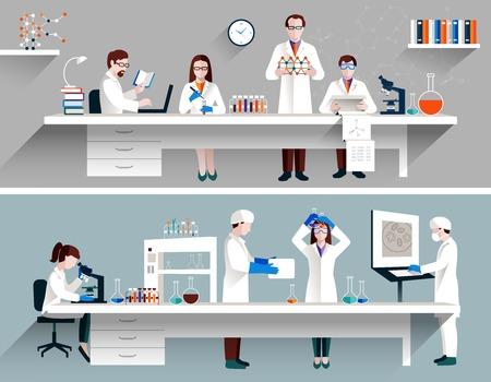 Los científicos en concepto de laboratorio con hombres y mujeres que hacen ilustración vectorial investigación