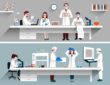 Scientists in lab concept with males and females making research vector illustration Çizim