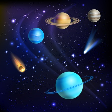 Space background with solar system planets comets and meteors vector illustration Vector