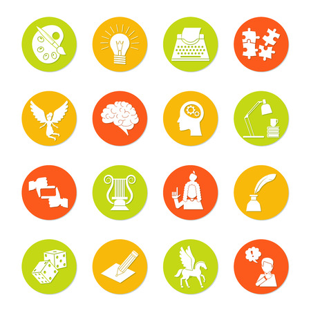 muse: Muse and art inspiration icon flat set with color palette lightbulb typing machine isolated vector illustration Illustration