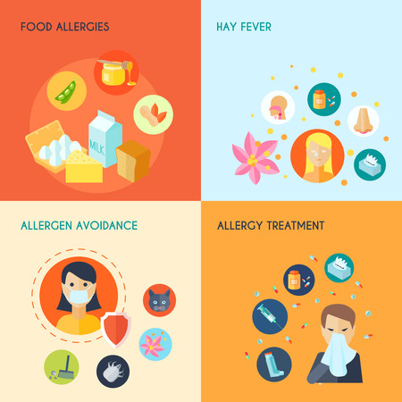 fever: Allergy design concept set with food hay fever allergen avoidance treatment icons set isolated vector illustration