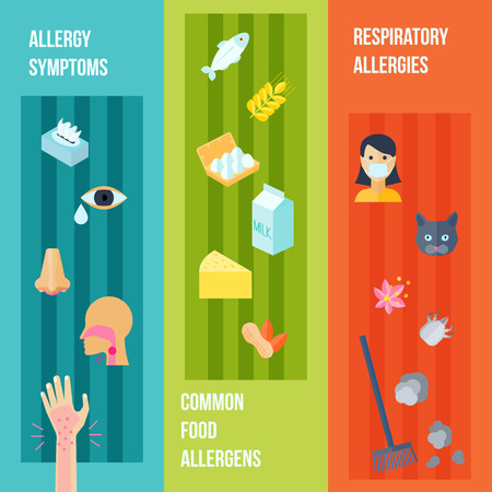 allergies: Allergy flat vertical banner set with respiratory symptoms food allergens elements isolated vector illustration