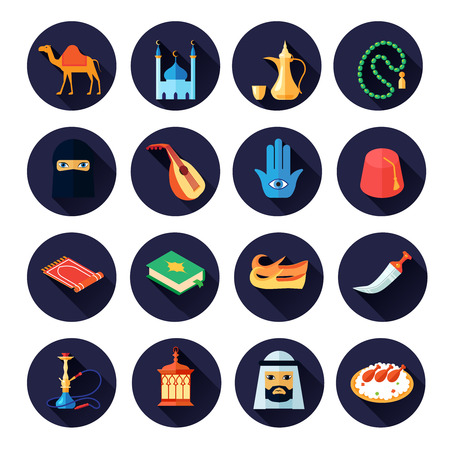 culture: Arabic culture icon flat set with camel mosque coffee music symbols isolated vector illustration