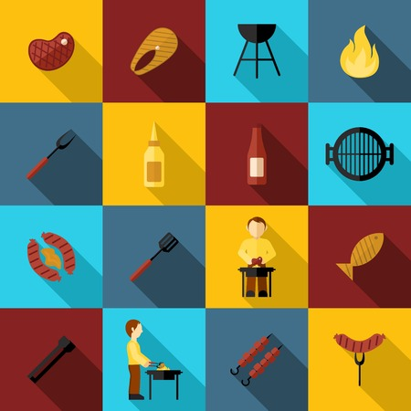 grill: Bbq grill icon flat set with sausage fork fish party isolated vector illustration