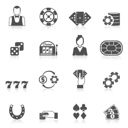 Casino y el juego conjunto de iconos de negro con aislados tarjeta chip máquina tragaperras ilustración vectorial Vectores