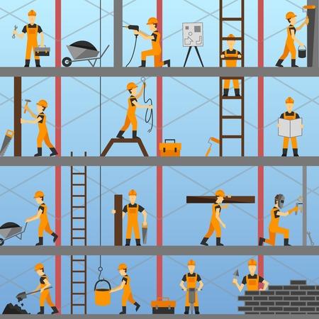 Bouwproces achtergrond met bouwers reparateurs en onderhoud werknemers vectorillustratie