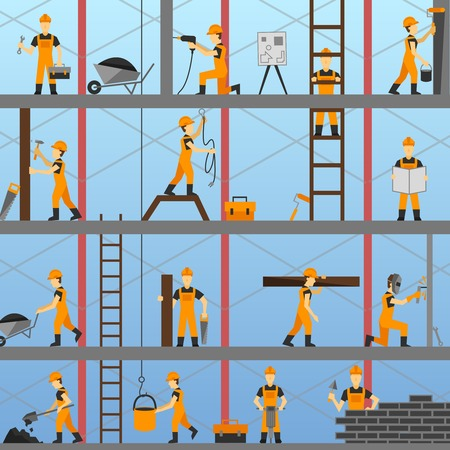 maintenance work: Construction process background with builders repairmen and maintenance workers vector illustration