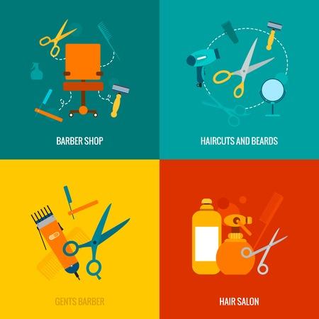 hair dryer: Barber�a 4 iconos planos de corte de pelo y barbas escote recortar composici�n servicio abstracto ilustraci�n vectorial aislado