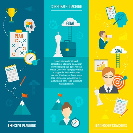 leadership: Coaching business flat vertical banner set with leadership effective planning corporate elements isolated vector illustration Illustration