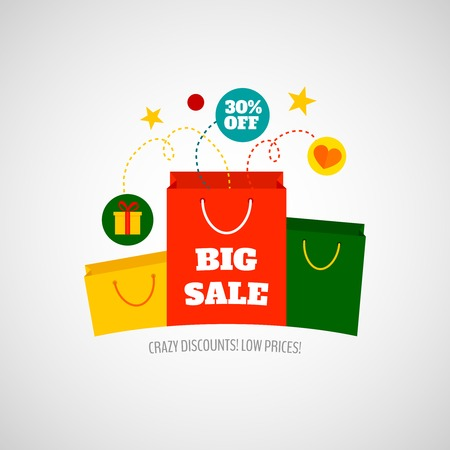 sales promotion: Big sales with crazy low prices promotion for woman budget shopping advertisement poster flat icon vector illustration
