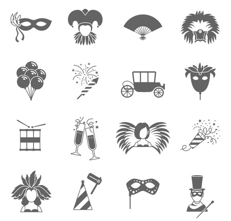venetian mask: Carnival  festive face masks black icons set with feathers fan and magic wand abstract vector isolated illustration Illustration