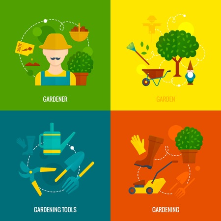 mower: Country hobby gardener tools and accessories  4 flat icons of lawn mower composition abstract isolated vector illustration Illustration