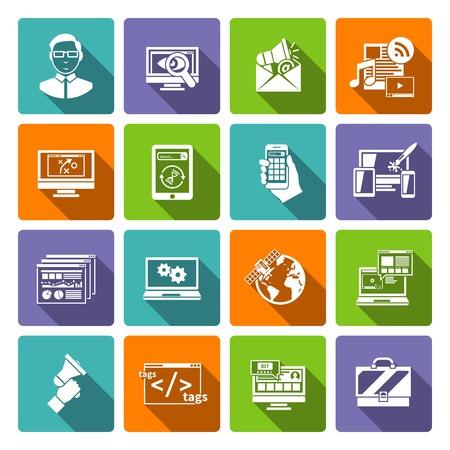 specialist: Seo internet marketing specialist flat icon set isolated vector illustration Illustration