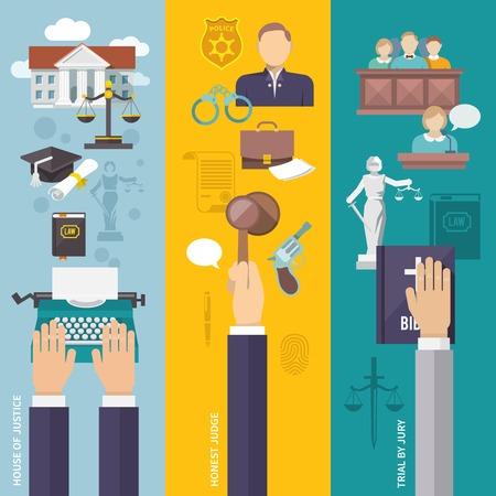 Wet banner die met het huis van gerechtigheid eerlijke rechter juryrechtspraak elementen geïsoleerd vector illustratie Vector Illustratie