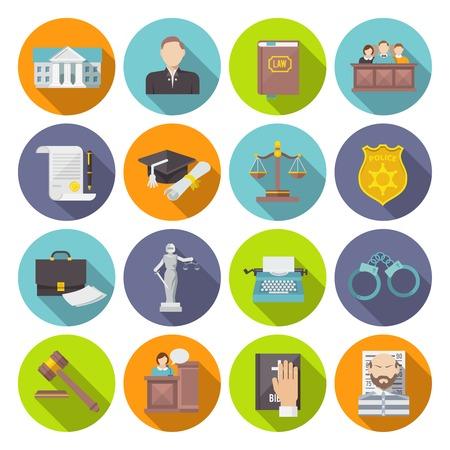 Law icon flat set met geïsoleerde advocaat gevangenis hof jury vector illustratie