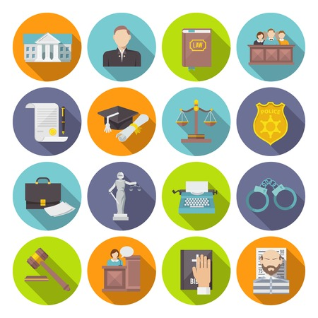 Law icon flat set with lawyer jail court jury isolated vector illustration Vettoriali
