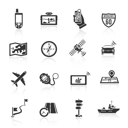 finder: Navigation real time course and position finder system black icons set with compass abstract  isolated vector illustration Illustration