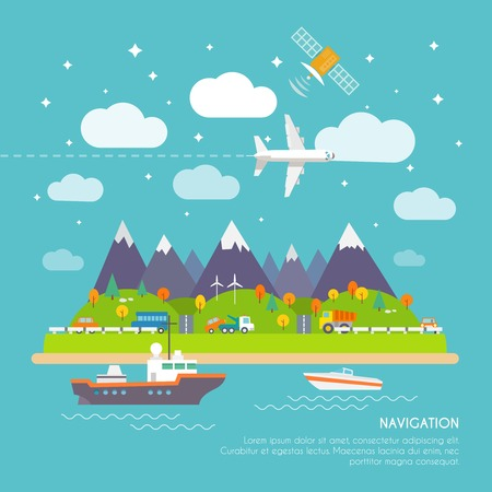 Navigation real time position and direction finder electronic system poster print with aircraft course  abstract vector illustration