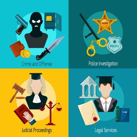 delito: Concepto de diseño Ley establece con ofensa crimen de investigación policial procedimientos judical servicios legales icono plana aislado ilustración vectorial