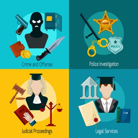 offense: Law design concept set with crime offense police investigation judical proceedings legal services icon flat isolated vector illustration