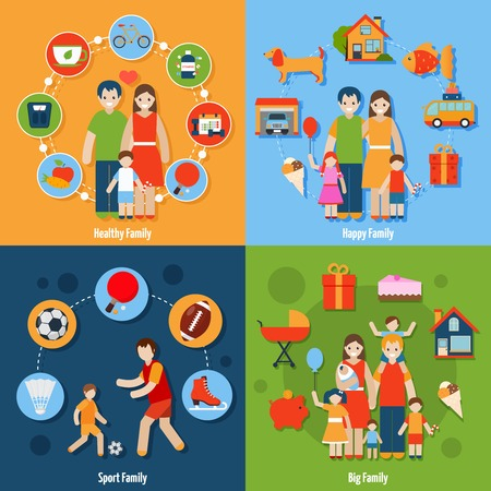 family: Family design concept set with healthy happy sport people icons isolated vector illustration