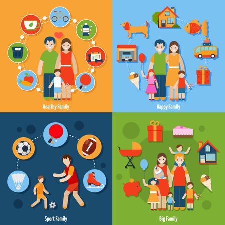 Family ontwerpconcept set met gezonde gelukkige sport mensen pictogrammen geïsoleerde vector illustratie