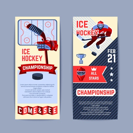 hockey games: Ice hockey championship vertical banner set with players and sport equipment isolated vector illustration Illustration