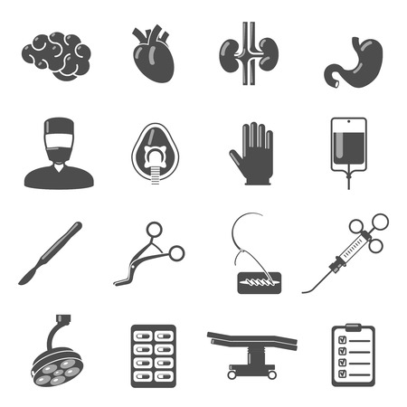 plastic glove: Surgery icons black set  with brain blood stomach scalpel isolated vector illustration