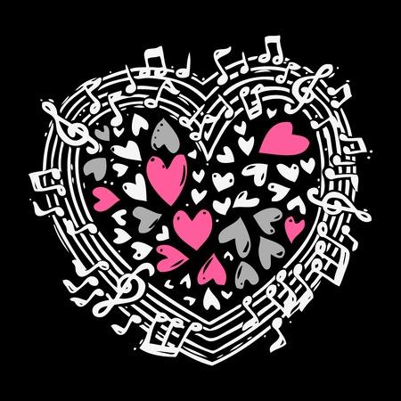 clave de fa: Concepto boceto de la m�sica con clave de sol se�ala iconos musicales en el coraz�n ilustraci�n forma vectorial Vectores