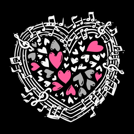 Music sketch concept with treble clef notes musical icons in heart shape vector illustration