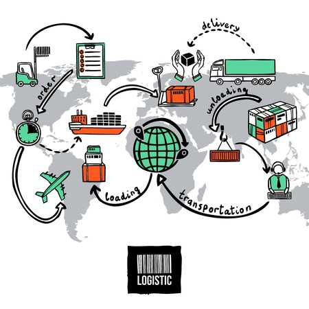 hand globe: Logistic sketch concept with shipping and transportation icons and world map vector illustration
