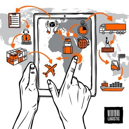 Logistieke schets concept met de hand houden van digitale tablet verzending pictogrammen en de wereld kaart vector illustratie