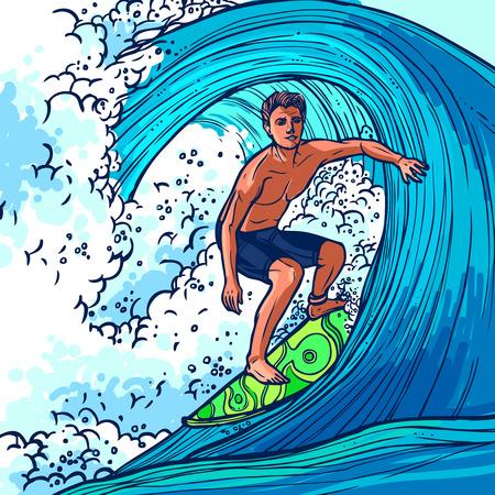 Surfer homme sur planche de surf sur l'aventure d'onde sport extrême fond illustration vectorielle