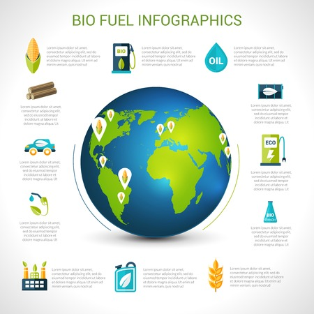 bio fuel: Bio fuel infographics set with eco energy elements and globe vector illustration