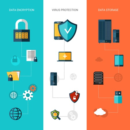 cyber security: Data protection flat banners vertical set with storage encryption elements isolated vector illustration